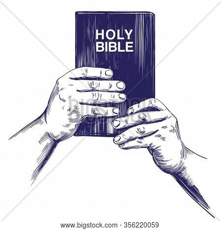 Hands Holding The Holy Bible, Gospel, The Doctrine Of Christianity, Symbol Of Christianity Hand Draw