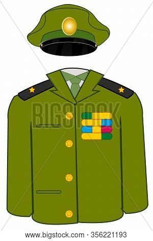 Form Military On White Background Is Insulated