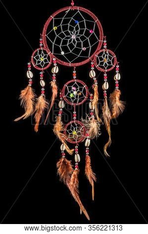 Pearl-embroidered Dream Catcher With Colorful Feathers And Pearls