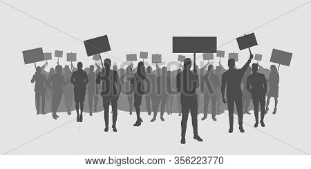 Silhouette Of Protesters Crowd Holding Protest Posters Men Women With Blank Vote Placards Demonstrat