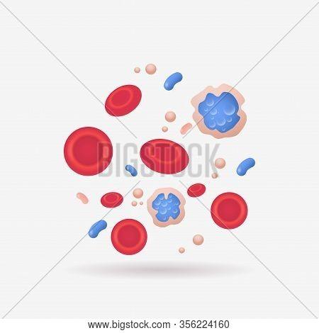 Red And Blue Vein Blood Cells Anatomy Human Vascular System Leukocytes Erythrocytes Platelets Icon B