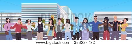 Mix Race People Standing Together Men Women Embracing Cityscape Background Portrait Flat Horizontal