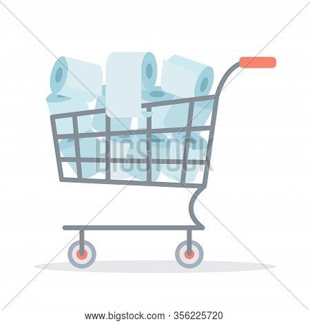 A Cart Filled With Toilet Paper. Purchase Of Toilet Paper In Stores. Panic Because Of The Coronaviru