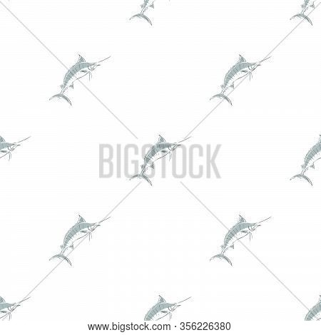 Pattern Sea Marlin On A White Bg Vector Eps 10