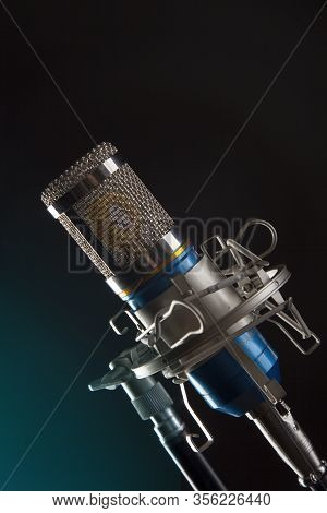 Metal Body Microphone Dark Effect Background Studio Shot