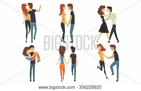 Happy Romantic Loving Couple Collection, Young Men And Women Characters Hugging, Walking And Dancing