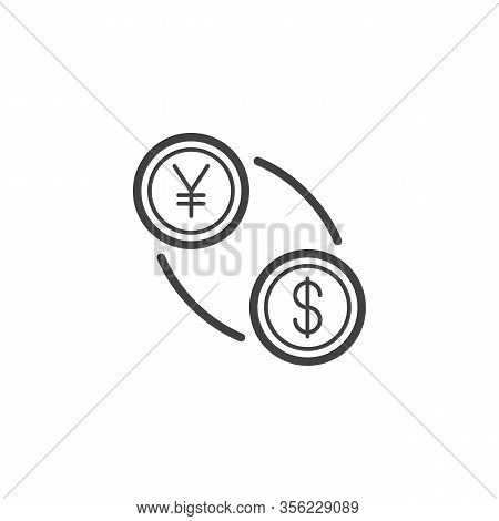 Yuan And Dollar Exchange Line Icon. Linear Style Sign For Mobile Concept And Web Design. Us Dollar W