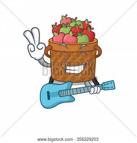 Supper Cool Apple Basket Cartoon Playing A Guitar