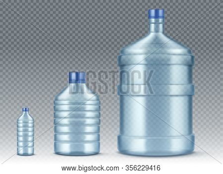 Plastik Bottles, Small And Big For Water Cooler. Vector Realistic Mockup Of Blue Plastic Packaging F