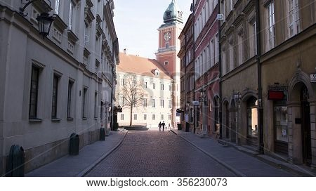 Warsaw, Poland. 17 March 2020. The Streets And Main Places Of Remain Deserted Due To The Coronavirus