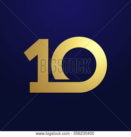 10 Th Anniversary Numbers. 10 Years Old Logotype. Shining Golden Congrats. Isolated Abstract Graphic