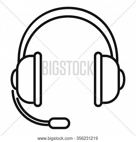Customer Headset Icon. Outline Customer Headset Vector Icon For Web Design Isolated On White Backgro