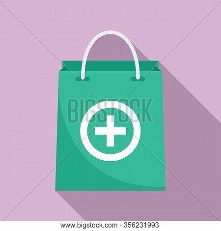Pharmacist Pill Bag Icon. Flat Illustration Of Pharmacist Pill Bag Vector Icon For Web Design