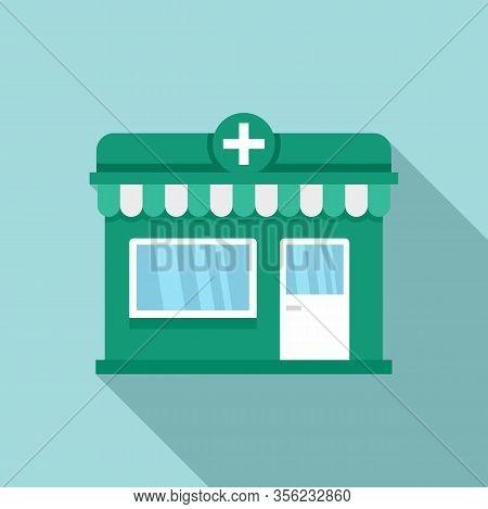 Street Pharmacy Shop Icon. Flat Illustration Of Street Pharmacy Shop Vector Icon For Web Design