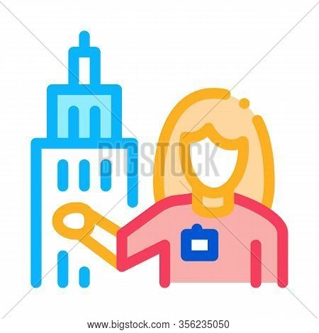 Woman Guide Near Tower Landmark Icon Vector. Outline Woman Guide Near Tower Landmark Sign. Isolated