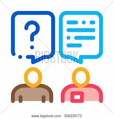 Dialogue Of Tourist And Employee Icon Vector. Outline Dialogue Of Tourist And Employee Sign. Isolate