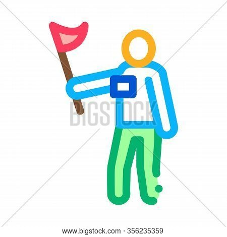 Leading Tourist Icon Vector. Outline Leading Tourist Sign. Isolated Contour Symbol Illustration