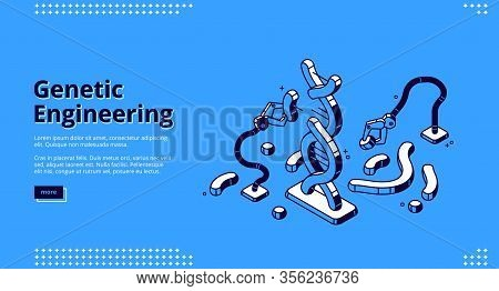 Genetic Engineering Isometric Landing Page, Robotics Arms Manipulators Changing Dna Structure In Lab