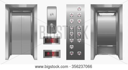 Realistic Elevator Cabin With Closed, Open Doors Inside View. Empty Lift Interior With Chrome Metal