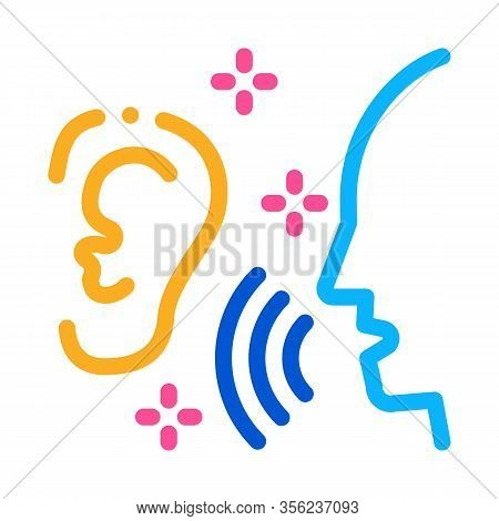 Listening To Human Singing Icon Vector. Outline Listening To Human Singing Sign. Isolated Contour Sy