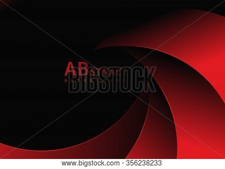 Abstract Curve Red Overlap On Black Background.you Can Use For Template Brochure Design. Poster, Ban