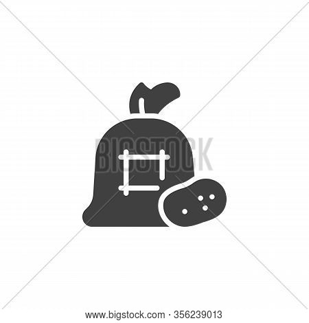 Potatoes Sack Vector Icon. Filled Flat Sign For Mobile Concept And Web Design. Bag Of Potato Glyph I