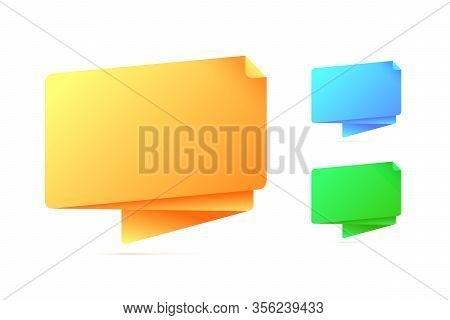 Abstract Origami Speech Bubble In Three Different Colors. Vector Illustration.