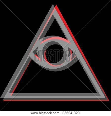 Simple Tricolor Illuminati Sign On A Black Background