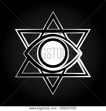 Simple Black And White Illuminati Sign On A Dark Background