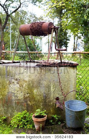 Old Abandoned Well And Bucket.
