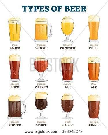 Types Of Beer Vector Illustration. Alcoholic Beverage Menu Collection Set. Labeled Visualization Wit