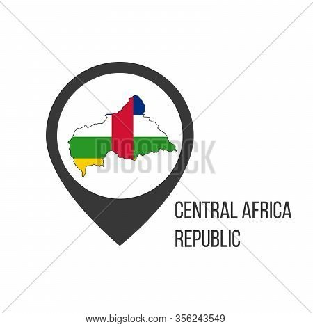 Map Pointers With Contry Centrsal Africa Republic. Centrsal Africa Republic Flag. Stock Vector Illus
