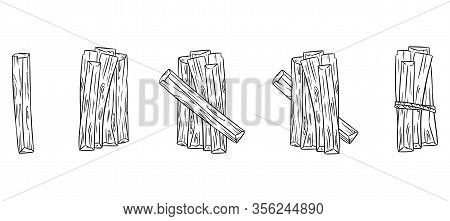 Set Of Wood Sticks Bundles. Collection Of Palo Santo Sticks From Latin America. Vector Sketch Images