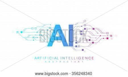 Artificial Intelligence Logo, Icon. Vector Symbol Ai, Deep Learning Blockchain Neural Network Concep