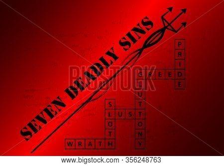 Seven Deadly Sins Blackground With Crossword, Vector Art