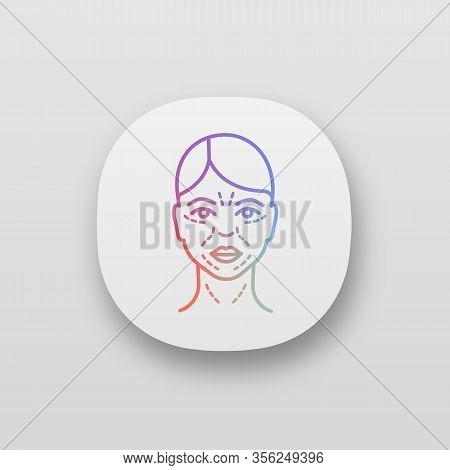 Mimic Wrinkles App Icon. Ui Ux User Interface. Facial Skin After Thirty. Face Ageing. Facial Markup