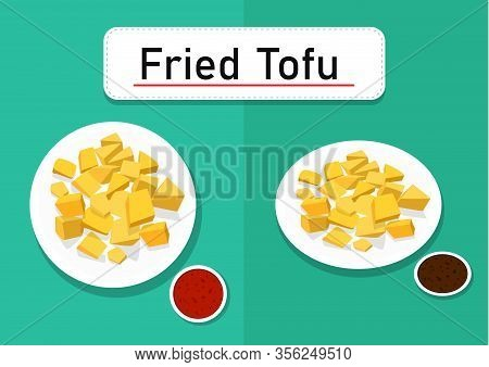 Fried Tofu In Top And Perspective View, Vector Art Design