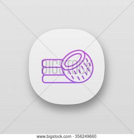 Coconut Fiber Mattress App Icon. Coconut Coir Bed Mattress. Organic Latex Material. Ui Ux User Inter