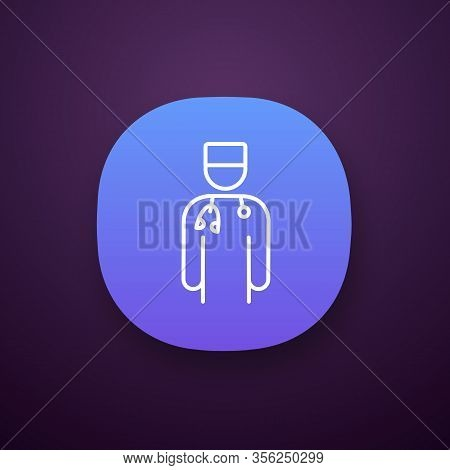 Doctor App Icon. Ui Ux User Interface. Psychotherapist, Psychologist, Neurologist. Medical Worker. P