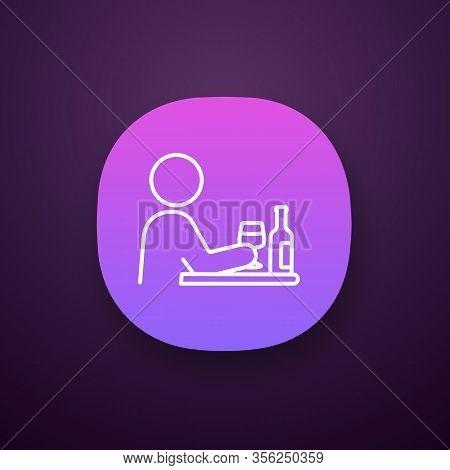 Bad Habits App Icon. Alcoholism. Drinking Habit. Binge Drinking. Depression, Anxiety. Behavioral Str