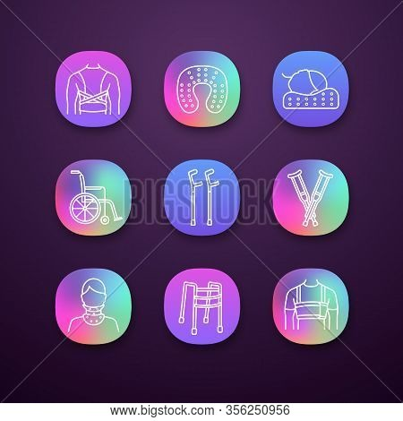 Trauma Treatment App Icons Set. Posture Corrector, Neck Orthopedic Pillow, Wheelchair, Axillary And