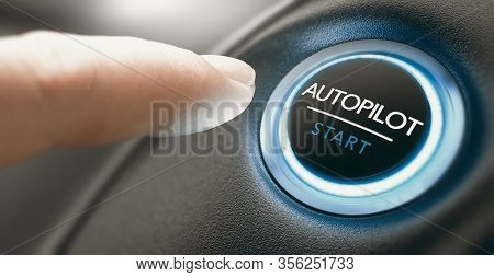Finger Pressing An Autopilot Button In A Self Driving Car. Composite Image Between A Hand Photograph