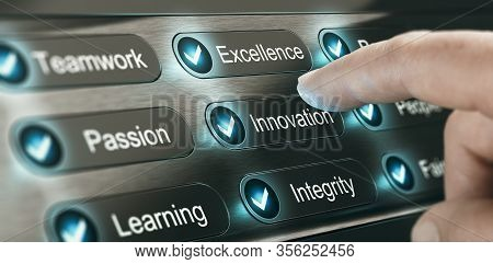 Finger Pressing A Button With The Word Innovation On A Panel With Core Values Of A Company. Composit