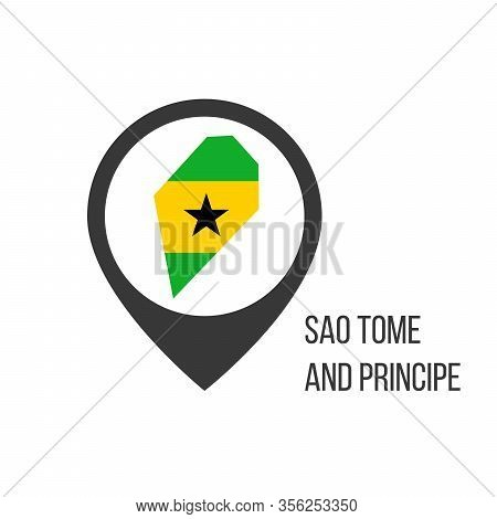 Map Pointers With Contry Sao Tome And Principe. Sao Tome And Principe Flag. Stock Vector Illustratio