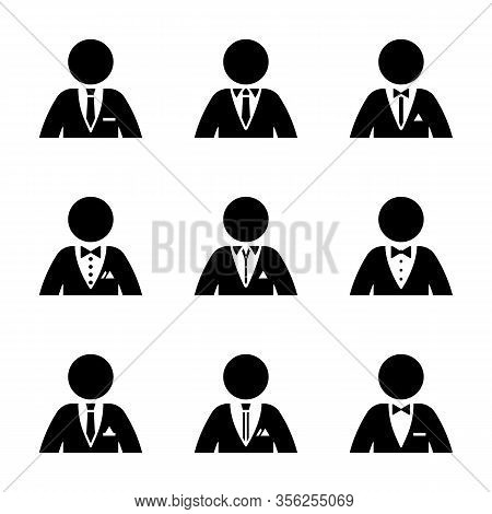 Stick Figure Dressed In Suit, Tuxedo, Shirt, Collar, Tie, Bow, Pocket Square Pictogram Silhouette Ve