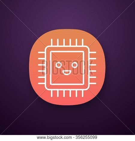 Smiling Processor App Icon. Well Working Microprocessor. Chip, Microchip In Good Quality. Cpu. Centr