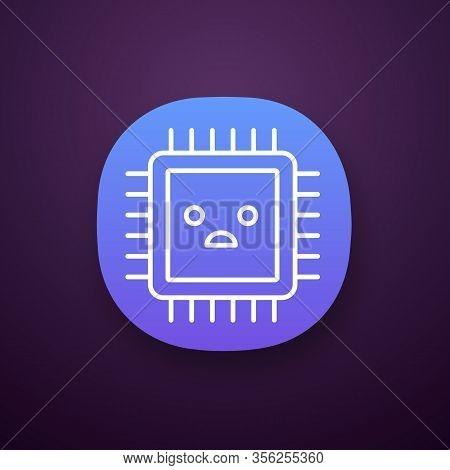 Sad Processor App Icon. Bad Cpu. Microprocessor Failure. Central Processing Unit Problems. Integrate