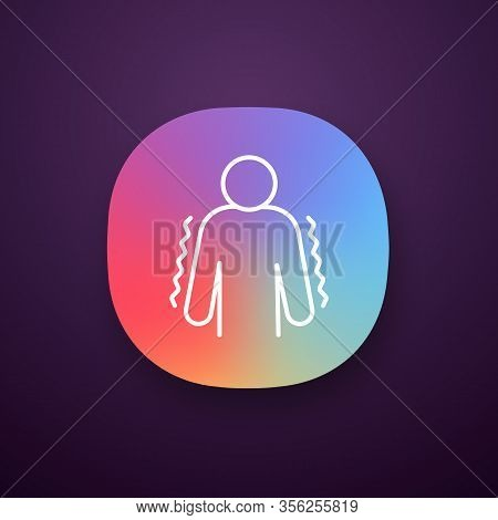 Trembling App Icon. Anxiety. Shaking Body. Worrying And Afraid Person. Chills. Physiological Stress