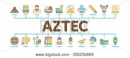 Aztec Civilization Minimal Infographic Web Banner Vector. Aztec Antique Pyramid And Gold, Bird And A