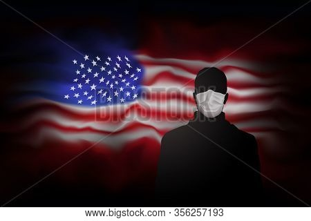 Covid-19 Coronavirus Epidemic In Usa. Silhouette Of Man In Medical Mask On Abstract Usa Flag Backgro